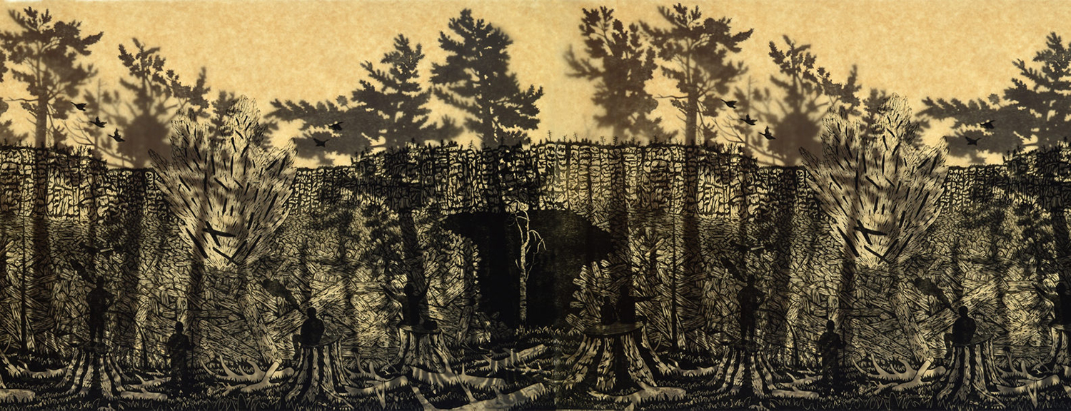 An print by Artist Josh Winkler of a pine forest