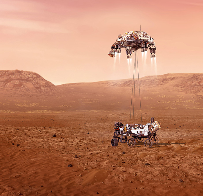 Illustration of the Perseverance rover landing on Mars