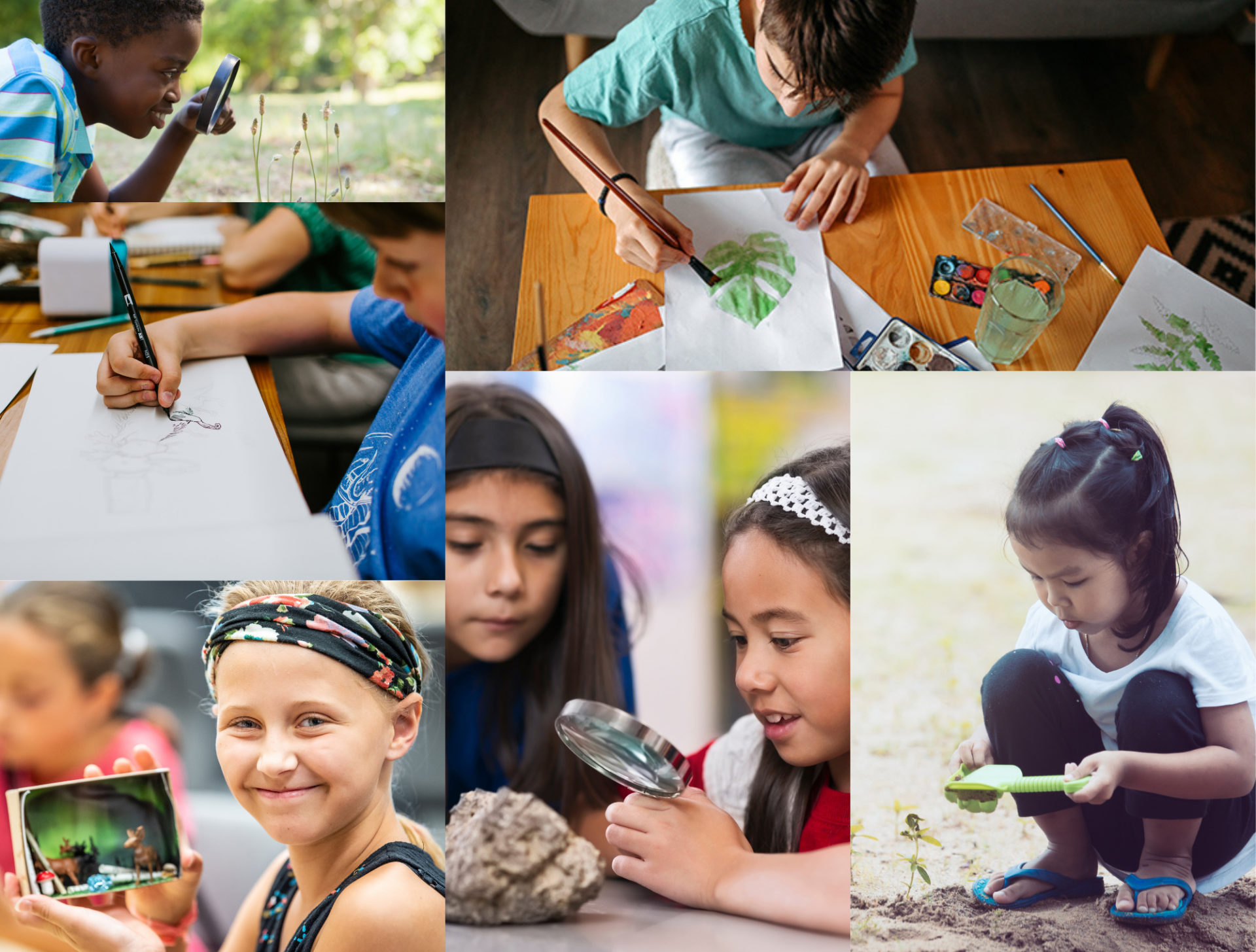 Collage of children drawing, using magnify glass, playing in soil