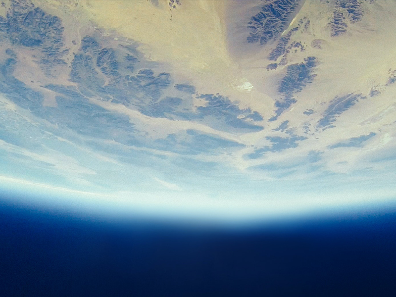 An airy blue atmosphere around Earth