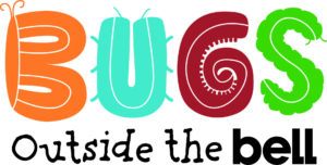 BUGS outside the bell graphic, with bug shapes making the letters