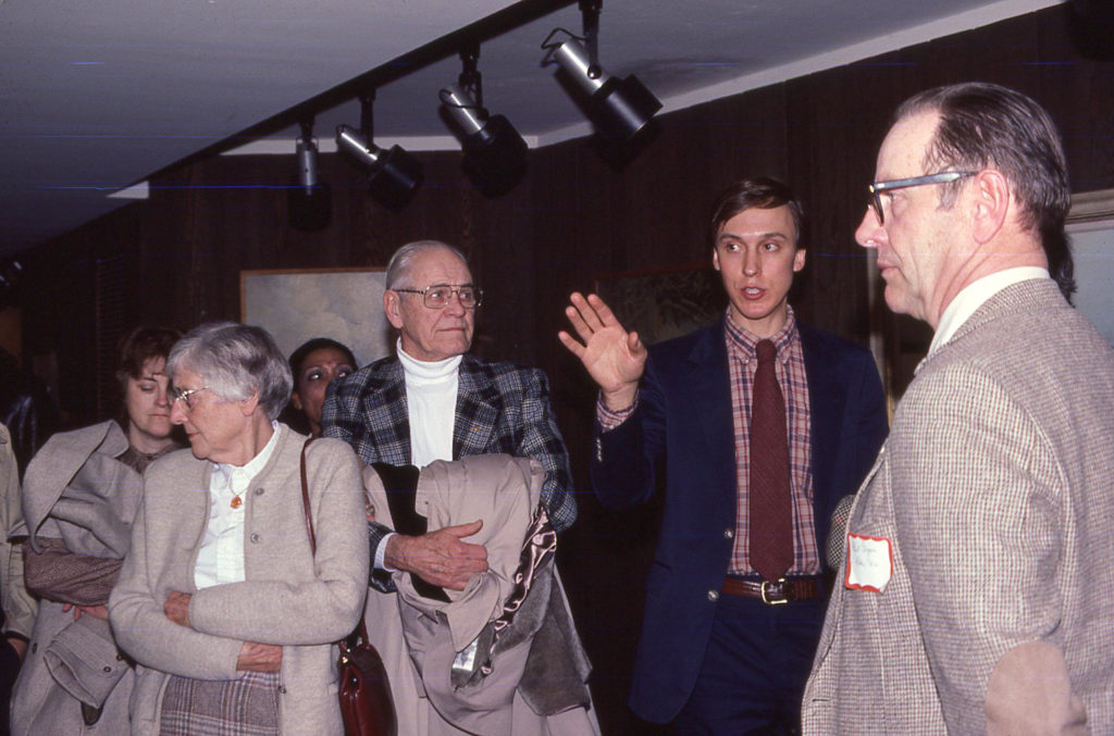Don Luce conducting a tour of the Jaques exhibition in 1982, the Bell Museum's first exhibit to travel nationwide.