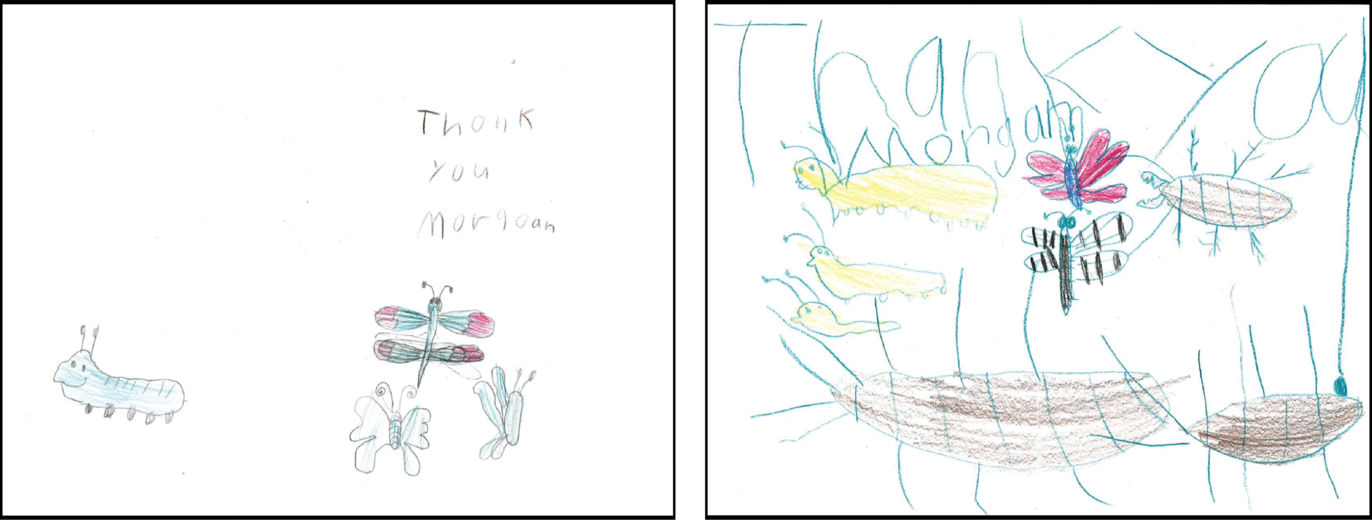 Thank you cards in children's handwriting to MGK employees