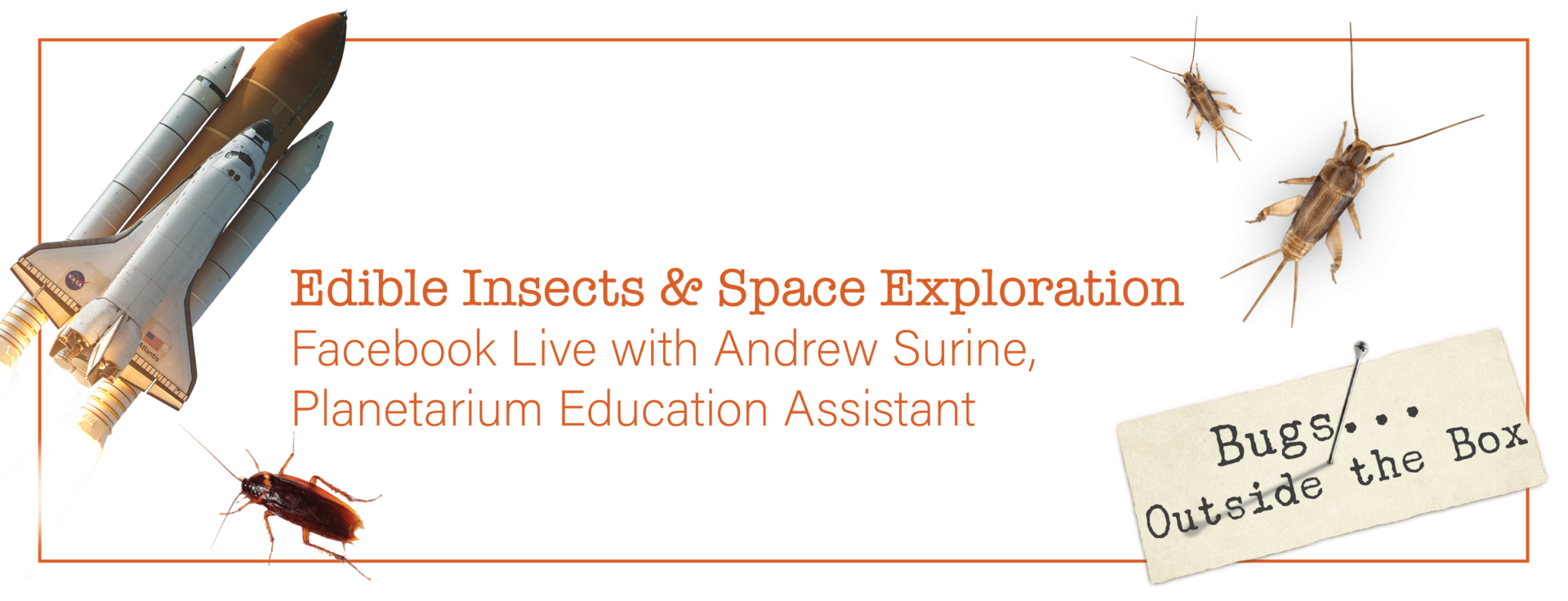 """A rocket ship and bugs surrounding the text, """"Edible Insects and Space Exploration with Andrew Surine, planetarium education assistant"""""""