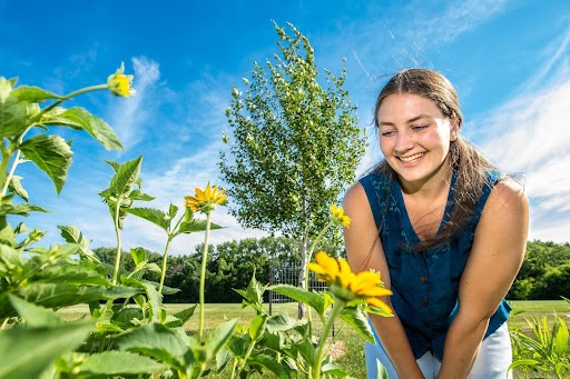 Sally Nelson looking at a sunflower