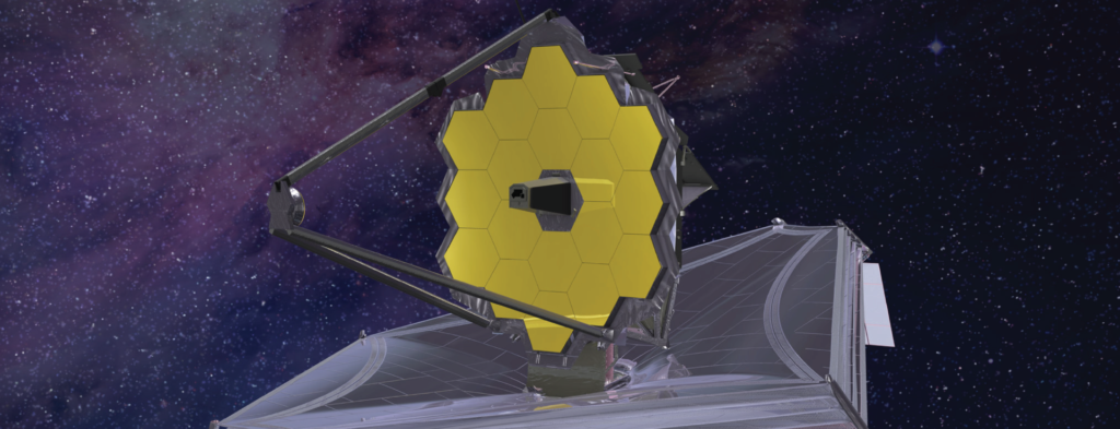 Telescope in space with gold plated hexagon mirrors