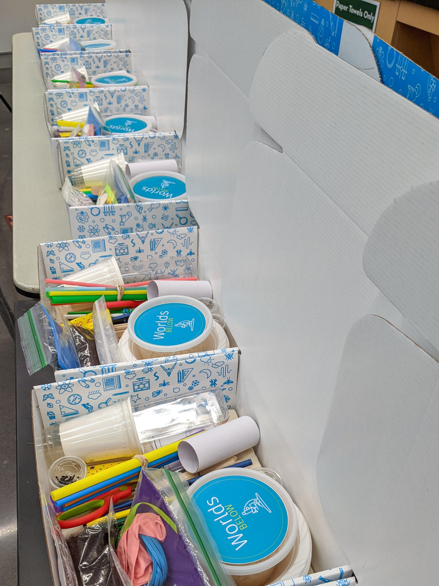 Camp boxes open with multiple supplies