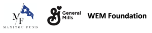 Sponsor logos for Manitou Fund, General Mills, and WEM Foundation